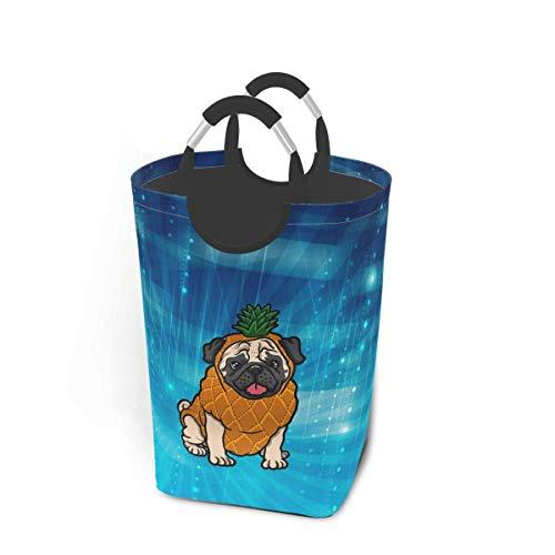 N\A Canasta de lavandería con Forma de Pug de piña, Canasta de Lavado Plegable, Canasta de Almacenamiento de Armario Grande con Asas para un fácil Transporte