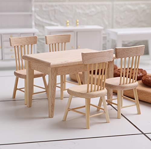 LAARNT 1 Juego de Mesa y Silla de Madera Mini, Modelo de Mesa y Silla en Miniatura, Accesorios de casa de muñecas 1:12