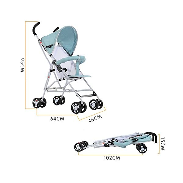 JXCC Travel Systems Baby Stroller Stroller Portable Four-Wheeled Cart Lightweight Folding Umbrella Four Seasons Universal -Safe And Stylish Green2 JXCC ★ Multi-speed adjustment carport, sun protection carport protects baby's delicate skin, awning/front armrests are detachable. ★ Full-angle flexible wheels, flexible steering, easy to implement, and free to control. ★ Bearing strong, rest assured to use. 4