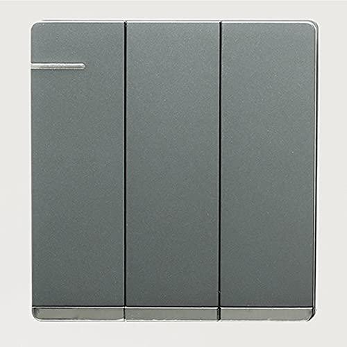 Crayom 86 Interruptor de luz de Palanca Tipo Pared Interruptor de Panel Negro Mate nórdico 1-4 Gang Interruptor de Panel de Metal 2 vías Interruptor ignífugo Decoración de Pared Minima