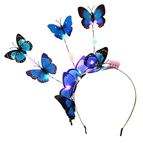 Fascigirl Haarband, vlinder, met led-vlinder, voor carnaval, vlinder, meisjes, haarsieraad, exquisiet, vlinder, haarband, cocktail, thee, party, dames, carnaval, kostuum, accessoires blauw