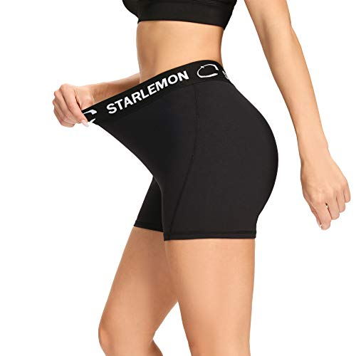 """Starlemon Women's Compression Volleyball Shorts 3"""" Spandex Workout Pro Shorts for Women Black Small"""