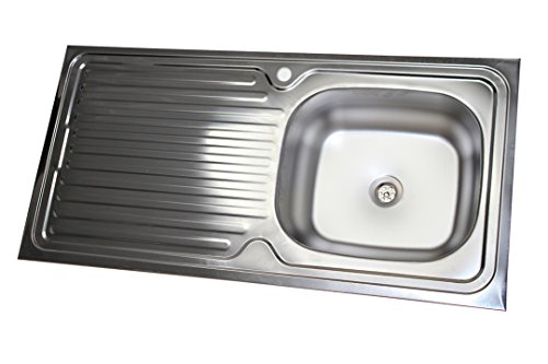 Edelstahl Küchenspüle Edelstahlspüle Aufsatzspüle Küchen Spüle Spülbecken 50x100 mit Abtropffläche Links