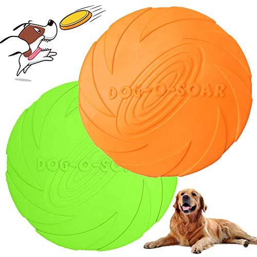 DERU Hunde Frisbees, Hund Scheibe, 2 Stück hundespielzeug Frisbee, Gummi Frisbee, für Land und Wasser, Hundetraining, Werfen, Fangen & Spielen(Grün + Orange)