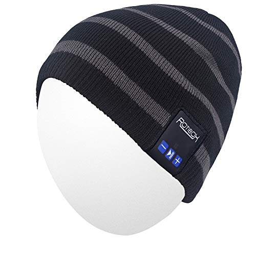 Qshell Winter Unisex Adult Wireless Bluetooth Beanie Hat Cap Ear Covers with Headphones Headsets Earphones Speakers Music Audio Hands-Free Phone Call for Sports Fitness Gym Exercise Workout - Black