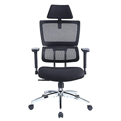 Ticova Ergonomic Office Chair - High Back Desk Chair with Elastic Lumbar Support & Thick Seat Cushion - 140°Reclining & Rocking Mesh Computer Chair with Adjustable Headrest, Armrest by Ticova