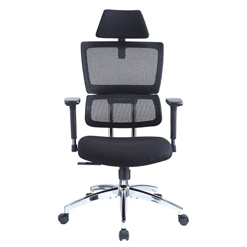 Ticova Ergonomic Office Chair - High Back Desk Chair with Elastic Lumbar Support & 3D Metal Armrest - 130°Reclining & Rocking Mesh Computer Chair with Thick Seat Cushion & Rotatable Headrest