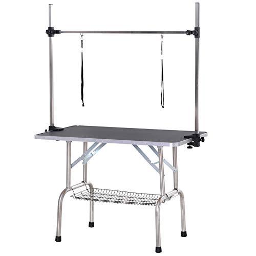 Pawhut Tierpflegetisch Trimmtisch Pflegetisch höhenverstellbar klappbar mit Unterkorb für Hunde Edelstahl Metall Schwarz 107 x 60 x 170 cm