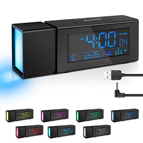 Aceshop Digitaler Wecker Radiowecker am Bett mit großem LED-Display, USB-Aufladung, 6 Alarmen, Schlummer, Dimmer, Sleep-Timer, Nachtlichtern, UKW-Radio, Thermometer, IR-Sensor für Schlafzimmer