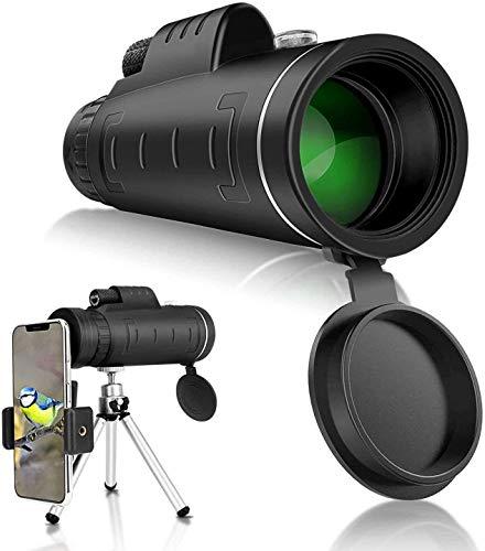 Telescopio monocular estelar, monocular HD de alta potencia 40X60 con soporte para telfono inteligente y trpode Monocular impermeable con para observacin de aves, acampada, senderismo, partido -