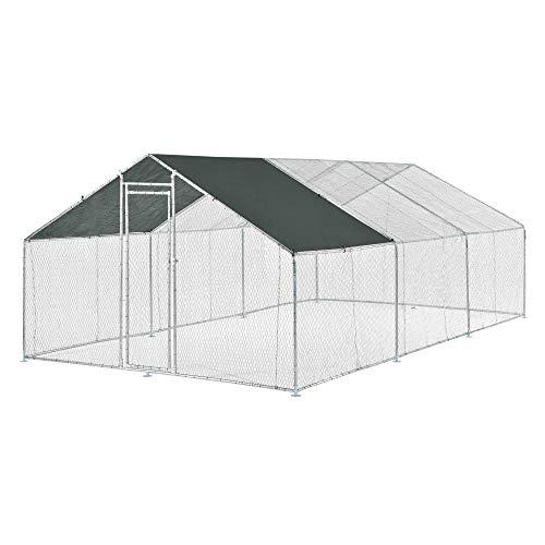 [pro.tec] Jaula al Aire Libre 3 x 6 x 2 m Voladero para Aves Jaula Gallinero de Exterior con Tejado Casa de Animales pequeños Color Plata y Verde Oscuro