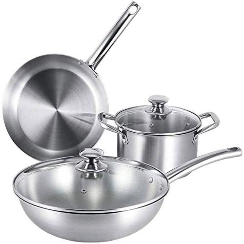 LMDH Sistema de utensilios de cocina de cocina, utensilios de cocina conjuntos de ollas y sartenes conjuntos de sartenes y senderos, ollas de utensilios de cocina antiadherente y sartén conjunto de ma