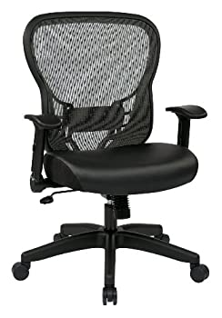 SPACE Seating R2 SpaceGrid Back and Padded Memory Foam Eco Leather Seat 2-to-1 Synchro Tilt Control Adjustable Flip Arms Nylon Base Adjustable Managers Chair Black