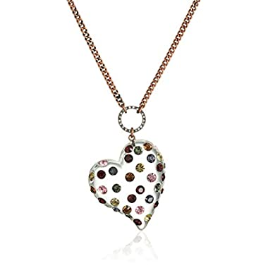 Betsey Johnson  Confetti  Mixed Multi-Colored Stone Lucite Heart Long Pendant Necklace