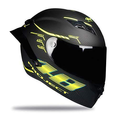Woljay Vollgesicht Motorradhelm Unisex-Erwachsener Offroad Moto Street Bike ATV Helme 46 Matt DOT Approved (Smoke,L)