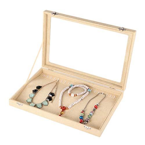 Jewelry Box Joyero De Lino Vintage Caja De Almacenamiento De Anillo De Collar (Vidrio con Tapa) Variedad Cuadrada De Vitrina De Joyería Opcional (Color : FlaxenD, Size : 35.5×24.5×5cm)