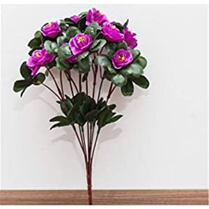 Baisheng Artificial Flowers Rhododendron simsii Planch Silk Flower Party Festival Xmas Bouquets Home Wedding Decoration(6 Bunch-Purple)