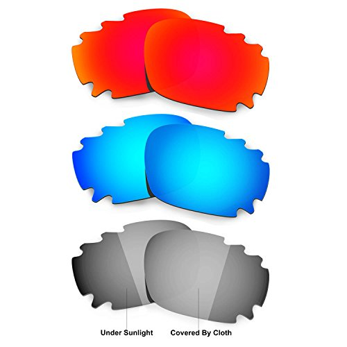 Hkuco Red/Blue/Transition/Photochromic Polarized Replacement Lenses For Oakley Racing Jacket Vented Sunglasses