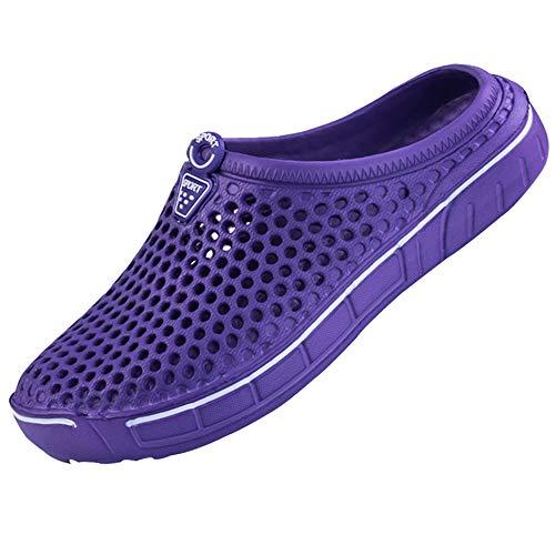 Unitysow Zuecos Hombre Sandalias Piscina Sanitarios Enfermera Zapatillas de Playa de Verano Zapatos de Jardín Zapatillas de Estar por casa Pantuflas Slippers Morado 36EU