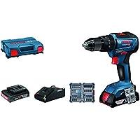 Bosch Professional GSB 18V-55 Taladro percutor, 2 baterías x 2,0 Ah, set de 35 accesorios Impact, 18 V, en maletín, Edición Amazon, Azul