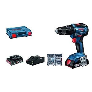 41oW+6FrybL. SS300  - Bosch Professional GSB 18V-55 System Taladro percutor, par de torsión máximo 55 NM, Incl. 2 x 2.0 Ah batería + Cargador, 35 pcs. Juego de Accesorios de Impacto, en L-Case, Amazon Edición, 18 V, Azul