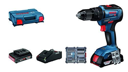 Bosch Professional Sistema Trapano Avvitatore con Percussione GSB 18V-55, Batteria 2x2.0 Ah e Caricabatterie, 35 Pezzi Set di Accessori Impact, in L-Case, Edizione Amazon
