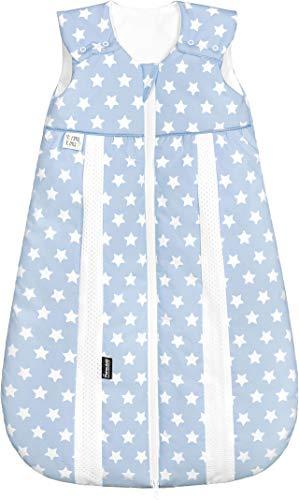 Set Odenwälder Prima Klima Thinsulate Schlafsack mit Stoffwindel von Kinderhaus Blaubär | Winter Baby-Schlafsack atmungsaktiv, Größe:80, Design:Sterne blau