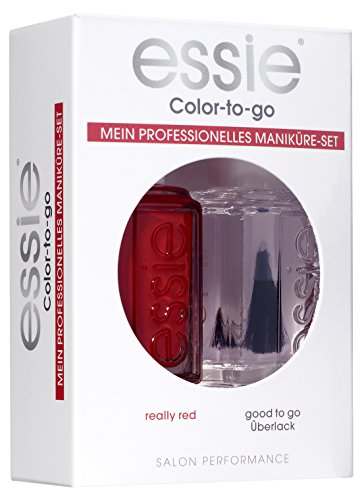 essie Nagellack Coffret Cremiges Sattes Rot und glänzender Überlack Really Red Nr. 60 / Maniküreset ultra deckender Farblack in Hellrot und transparenter Top Coat 2x 13,5 ml, Set