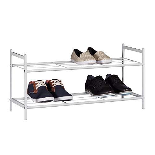 Relaxdays Schuhregal SANDRA mit 2 Ebenen, kleine Schuhablage aus Metall, HBT: ca. 33,5 x 69,5 x 26 cm, für 6 Paar Schuhe, mit Griffen, weiß