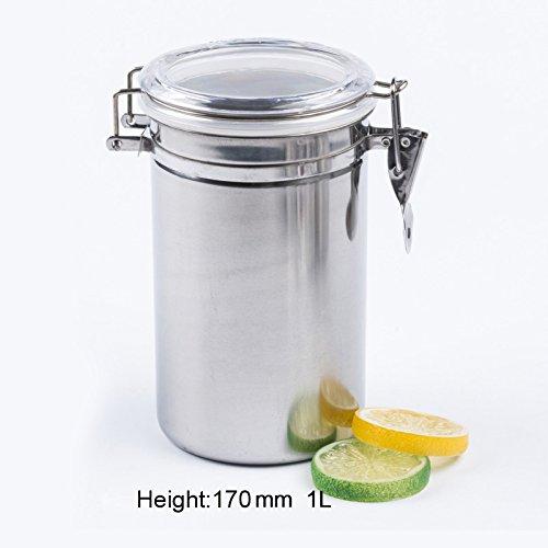 lzn Edelstahl Kaffeedose Kaffee Behälter Deckel aus rostfreiem Edelstahl für Kaffee, Mehl, Zucker, Tee,etc(500/650/750/1000ML)