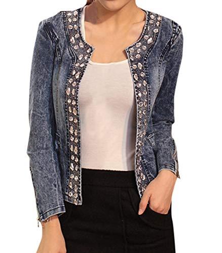 Donna Retro Giacche di Jeans Moda Sottile Strass Paillettes Tops Cappotto Outerwear Coat Manica Lunga Denim Giacca Cime Corto Jacket
