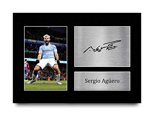 HWC Trading Sergio Aguero Gift Signed A4 Printed Autograph Manchester City Gifts Print Photo Picture Display