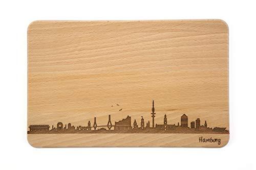 SNEG Brotzeitbrett Hamburg Skyline | Frühstücksbrettchen aus Buche | Holz Schneidbrett | Geschenk mit Gravur | Frühstücksbrett (Standard S (22x14x1cm), 1. ohne persönlicher Gravur)