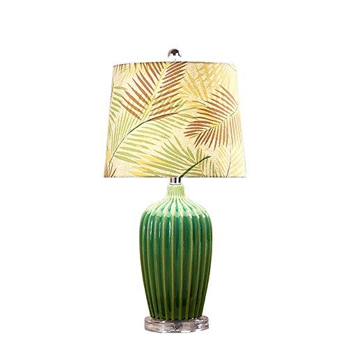 Lámparas de escritorio Lámparas de mesa y mesilla Lámpara de mesa de estilo europeo, Lámpara de cerámica verde Lámpara de salón de hotel Lámpara de dormitorio, Lámpara de tela de hoja Lámparas de mesa