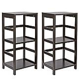ZenStyle 3-Tier Open Storage Shelf Bookcase End Table for Bathroom Living Room Bedroom, Espresso Finish, Set of 2