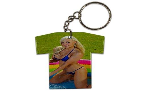 Schlüsselanhänger Sexy Fun Blondine Pool Trikot Bedruckt