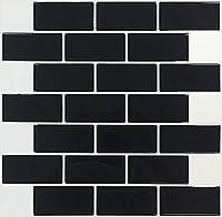 【 Dream Sticker 】 モザイクタイルシール キッチン 洗面所 トイレの模様替えに最適のDIY 壁紙デコレーション MTR (エボニーブラック, 40枚セット)