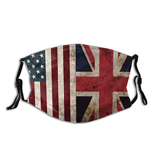 Usa Uk Flag Face Mask With Filter Pocket Washable Reusable Face Bandanas Balaclava With 2 Pcs Filters