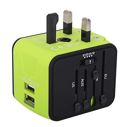 Adaptador de Viaje, Adaptador Enchufe Universal todo en uno Adaptador de Corriente Internacional con Dos USB cubre más de 150 Países Europa,Canadá,México ymás para Dispositivos Android y IOS- Milool