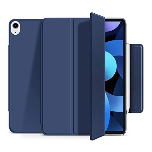 KenKe Magnetic Case for iPad Air 4 2020 10.9 Inch [Convenient Magnetic Attachment] [Supports Pencil 2] with Rebound Buckle Auto Sleep/Wake Smart Cover iPad Air 4 Generation 10.9 Case (Navy)