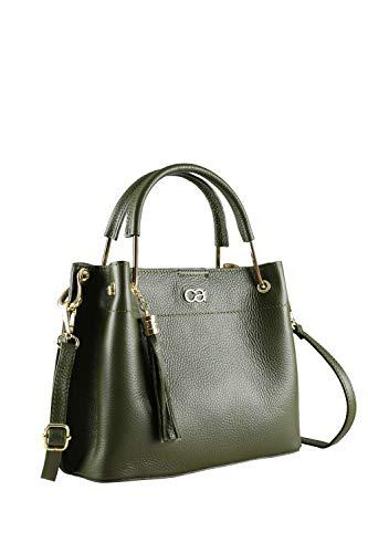 collezione alessandro Italienische Tasche Xabella mit Lederüberzogenem Metallgriff 25cm x 21cm x 13cm