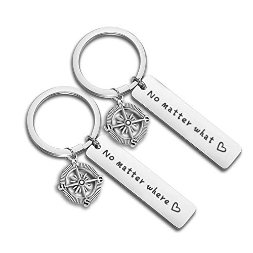 WUSUANED No Matter When Compass Best Friend Keychain Set Long Distance Friendship Gift For Sister Best Friends (No matter where what)