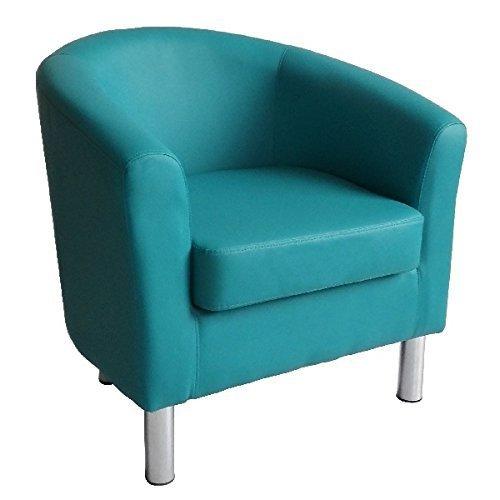 Moderner Tub Stuhl Sessel Kunstleder mit Chrom Beinen Home Esstisch Wohnzimmer Lounge Office Empfang Aqua Blau