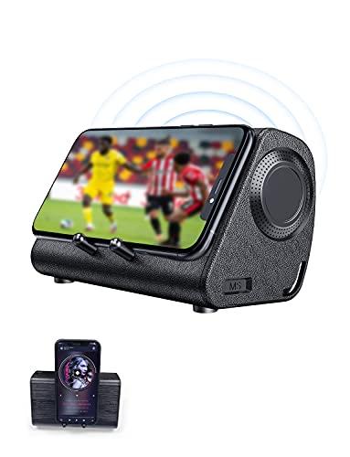 Bluedio MS (Mobile Soundbar) Altavoz de Inducción Inalámbrico Portátil con Soporte para Teléfono con Sensor, sin Emparejamiento Bluetooth, Base Estéreo para Teléfono, Exterior, Fiesta en Casa