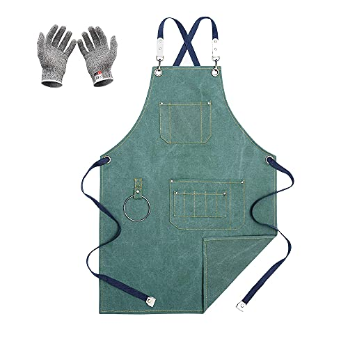 MEICHEN Chef Cut-Proof Gloves,Chef Aprons,Kitchen Cooking Grilling Apron,Cotton Canvas Apron for Women and Men,Cross Back Apron and Large Pockets,Artist Apron,Birthday Gift,Adjustable M toxXL,Green