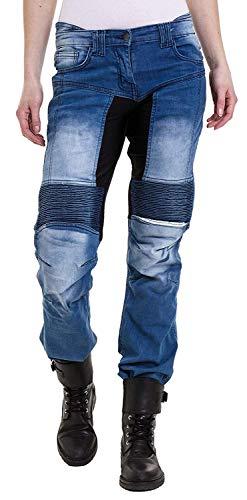 Qaswa Damen Motorradhose Jeans Motorrad Hose Motorradrüstung Schutzauskleidung Motorcycle Biker Pants, W30-L31, Blue