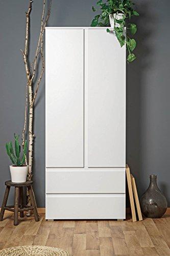 lifestyle4living Mehrzweckschrank, weiß, 80cm breit, 2 türig, 2 Schubladen & 3 Einlegeböden | Griffloser zweitüriger Aufbewahrungsschrank, 190 cm hoch, 40 cm tief