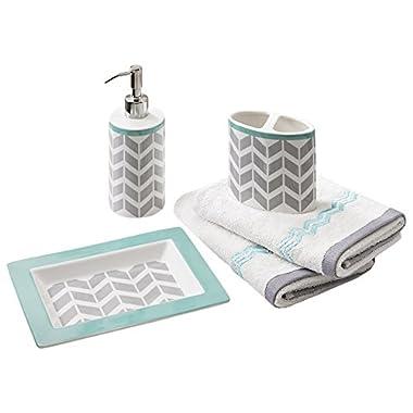 Intelligent Design Nadia Bathroom Accessories Set, 5-Pcs Bath Room Sets Of Teal/Grey Soap Dispenser, Toothbrush Holder, Decorative Tray, 2 X Hand Towels