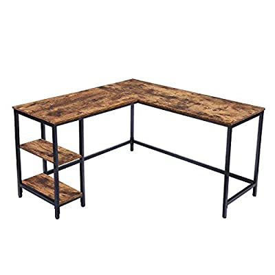HOOBRO L-Shaped Computer Desk, Industrial Corner Writing Desk with Shelves, Study Workstation for Home Office, Stable and Space-Saving, Rustic Brown BF35DN01 by HOOBRO