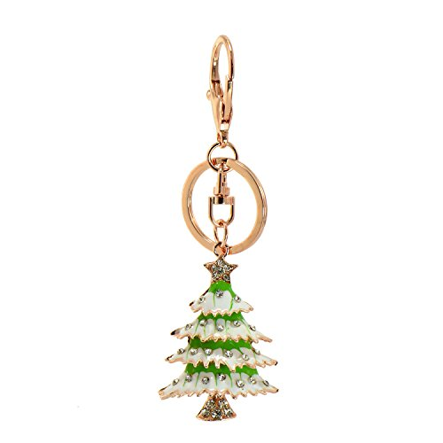 Paialco Christmas Tree Key Ring Charm Pendant Rose Gold Tone with Split Ring